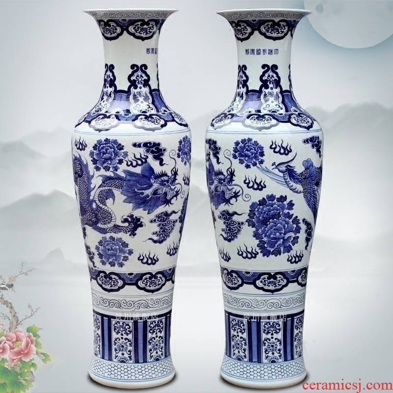 Hand - made longfeng figure of large vase of jingdezhen blue and white porcelain great place to live in the sitting room the hotel Chinese style decoration