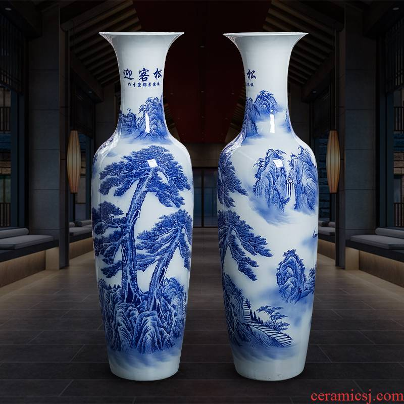 Jingdezhen ceramic ink color of large vase of blue and white porcelain home sitting room hotel decoration like China