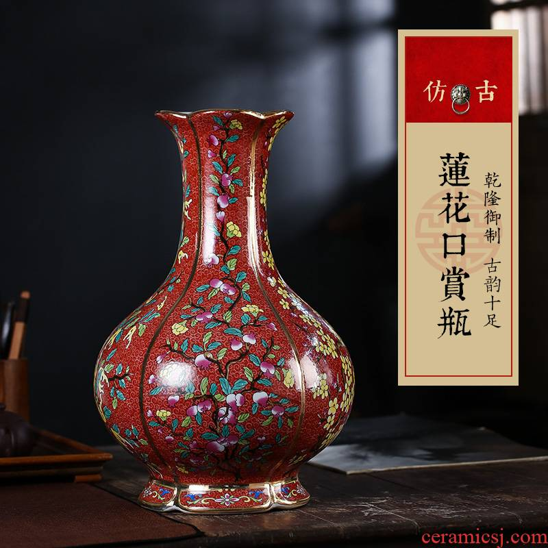 Jingdezhen ceramic vase Chinese colored enamel vase home sitting room furnishing articles furnishing articles archaize ceramic arts and crafts
