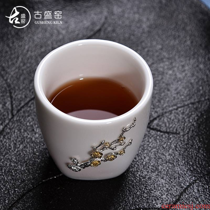 The ancient sheng up new lotus white porcelain ceramic whitebait cup silver inlaid with silver tea sample tea cup, master cup single cup bowl