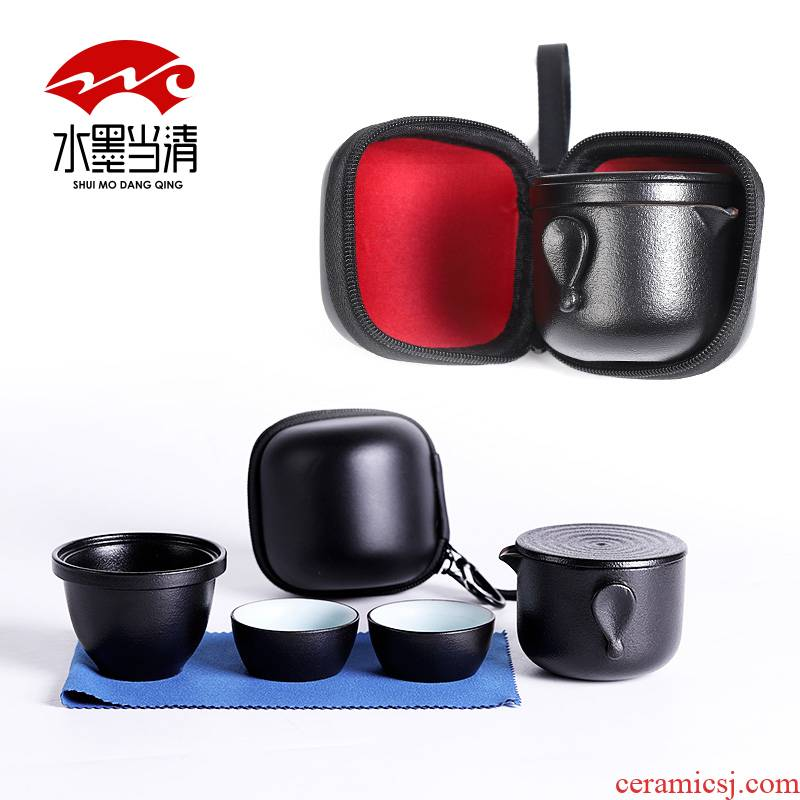 Black pottery crack of a pot of two cup four cup travel kung fu tea cup suit portable package Japanese car is suing