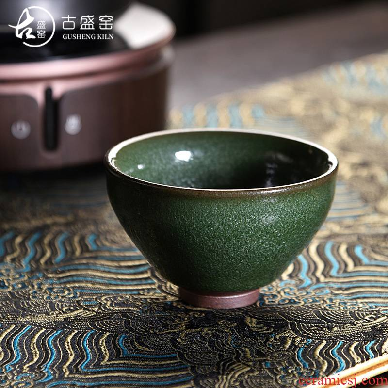 Ancient sheng bank up up built lamp cup firewood light green tea with open expressions using a piece of glaze beam light ceramic cup master cup single CPU