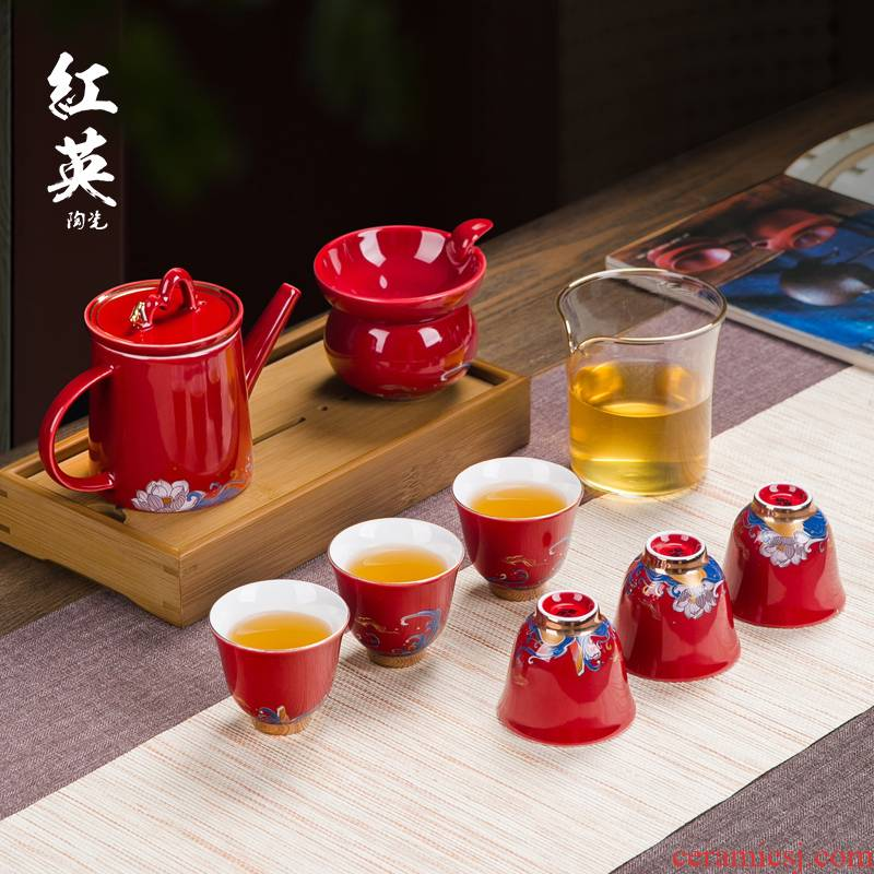 Jingdezhen ceramic glaze paint a complete set of kung fu tea set suit household of Chinese style red teapot tea cups