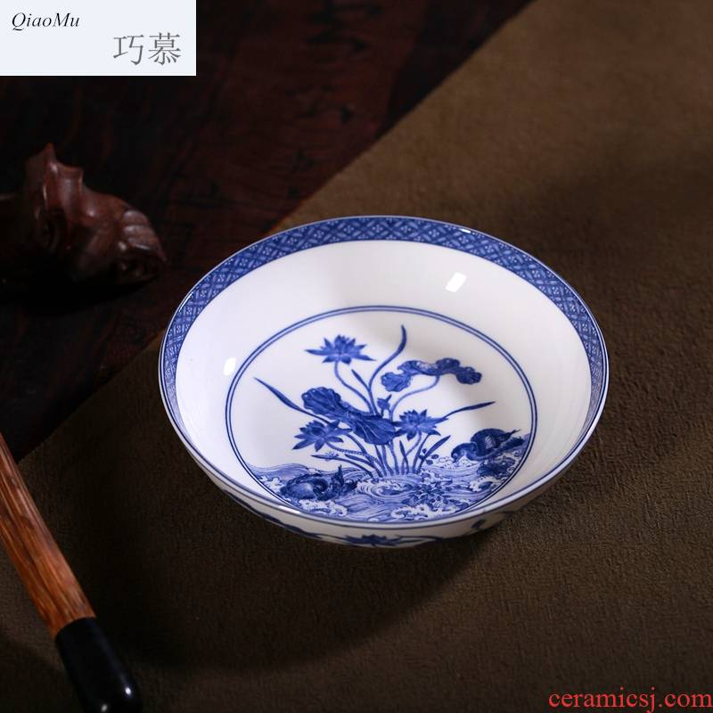 Qiao mu jingdezhen porcelain in the Ming and the qing dynasties 】 【 antique blue and white porcelain and tea cups kung fu tea bowl is antique