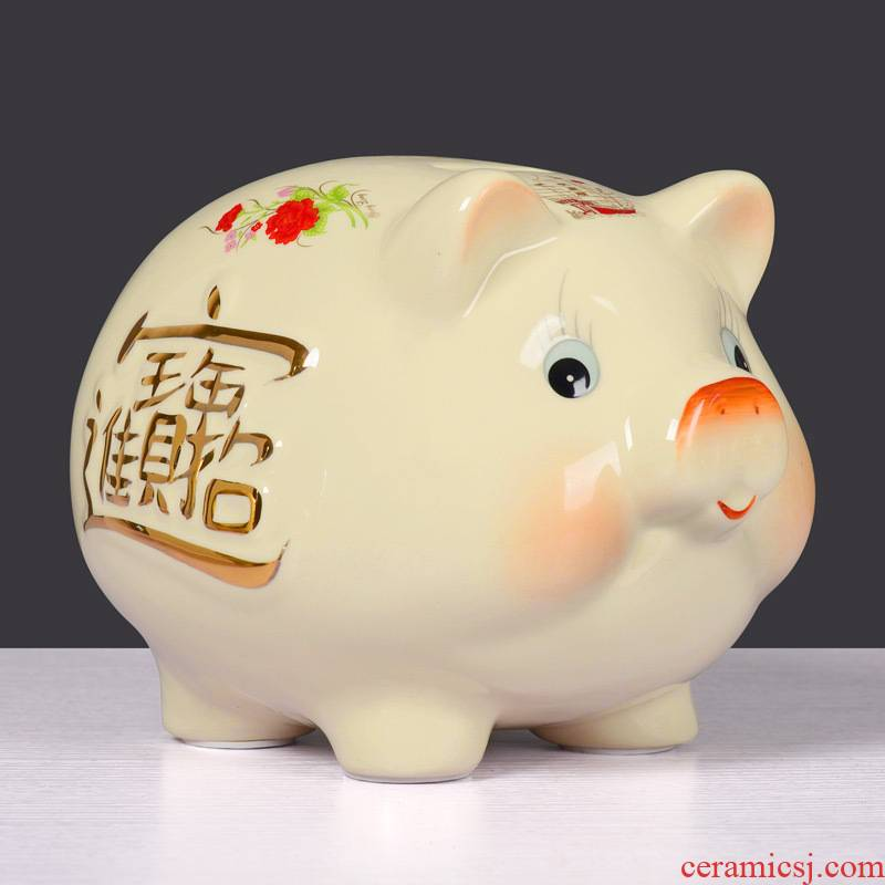 Ceramic furnishing articles beige pig piggy bank piggy bank creative gift birthday, lovely large a thriving business