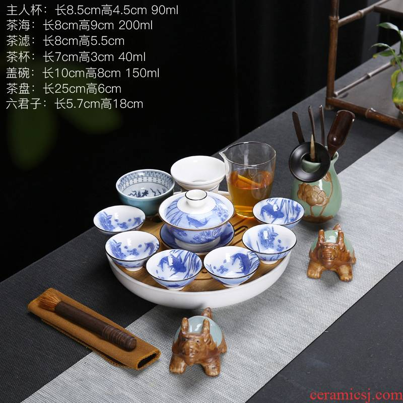 Suet jade color blue and white with white porcelain tea set tea service of household ceramics kung fu tea sets the teapot teacup group