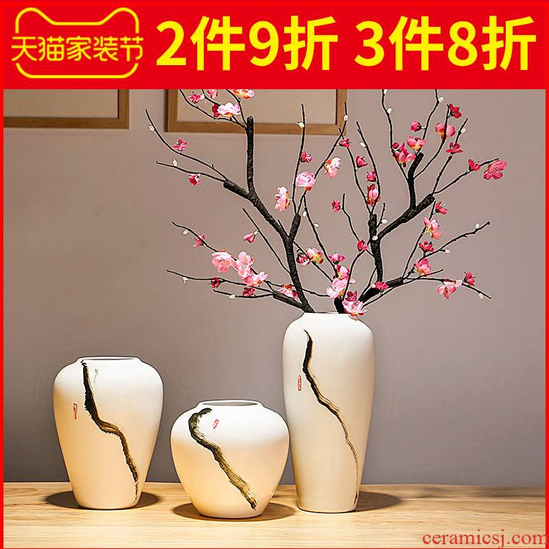 Jingdezhen ceramic porcelain vases, flower arranging dried flowers, household contracted and Chinese style porch sitting room place to decorate the study