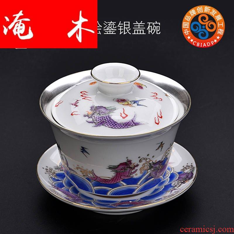 Submerged wood gode white porcelain coppering. As silver tureen size upset three bowl of household kung fu tea tea cup