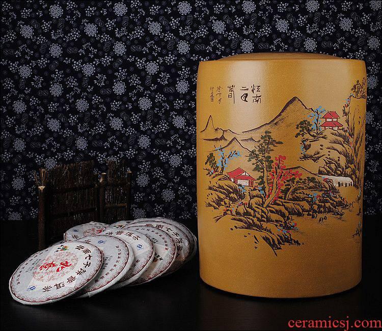 The Heavy shadow enjoy pu 'er tea purple sand tea set purple sand pot pu' er tea loose tea urn cylinder tank JSBT tea cake