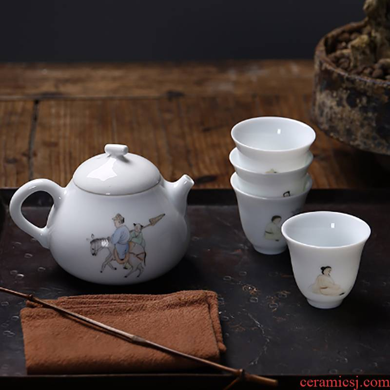 White porcelain hand - made suet jade master cup single cup small ceramic cups sample tea cup household kung fu tea sets tea pot