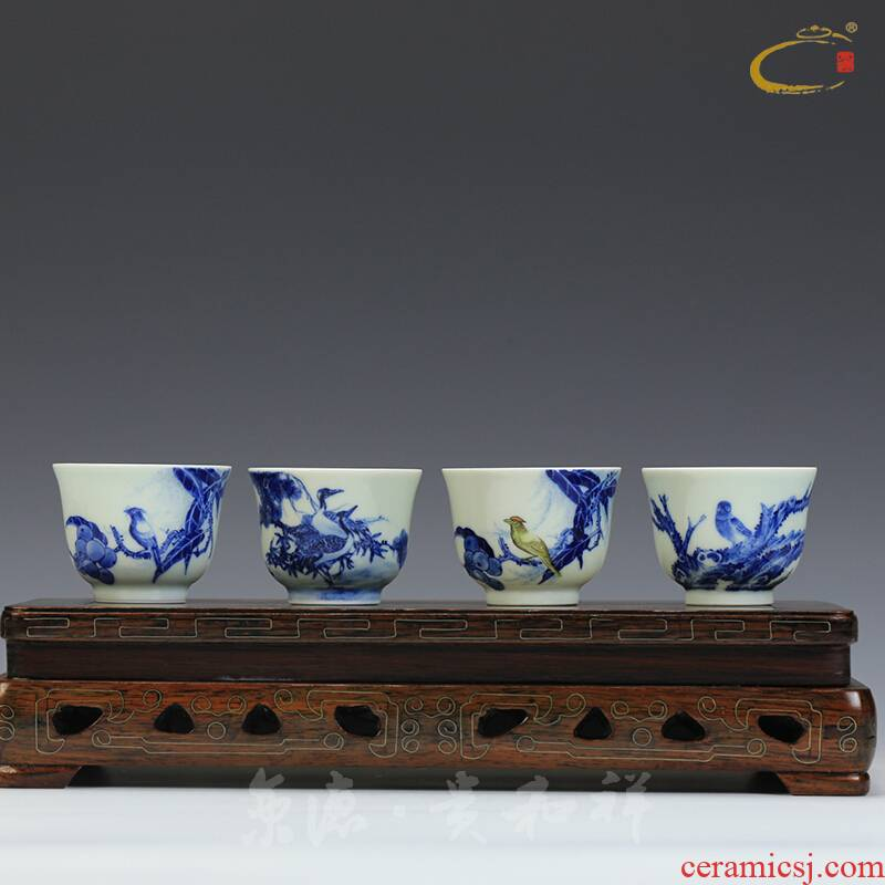 Jing DE and auspicious hand - made green, flowers and birds sample tea cup full manual single cups of jingdezhen ceramic kung fu tea set small cups