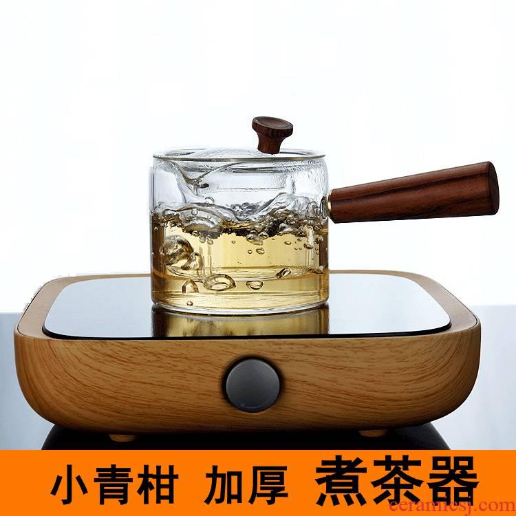 New 2 DaiDian TaoLu manual wood side boil pot of heat - resistant glass teapot Japanese tea upset the tea pot