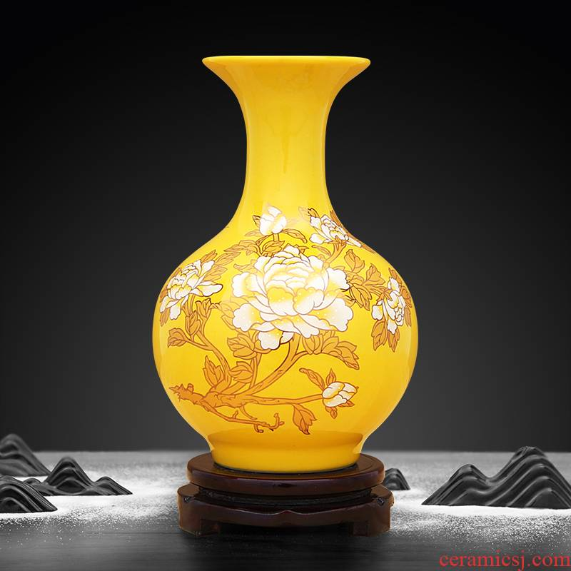 Yellow emperor to industry ceramic vase paint peony riches and honour
