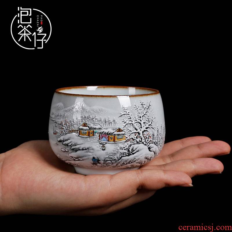 Tea seed, jingdezhen up manual pure hand - made ceramic masters cup kung fu Tea cup sample Tea cup but small Tea cups