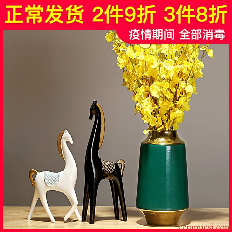 Ceramic vase is placed between example of new Chinese style porch sitting room dry flower arranging flowers is Europe type TV ark, household decoration