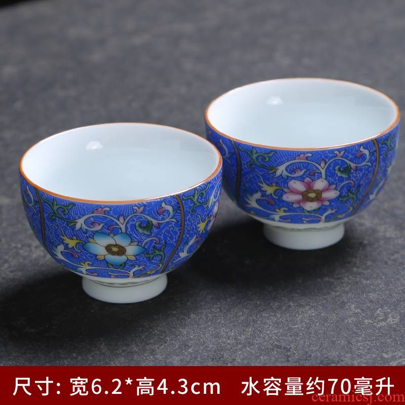 Jingdezhen tea cups ceramic bowl grilled famille rose flower flower sample tea cup master single CPU hand - made kung fu tea cups