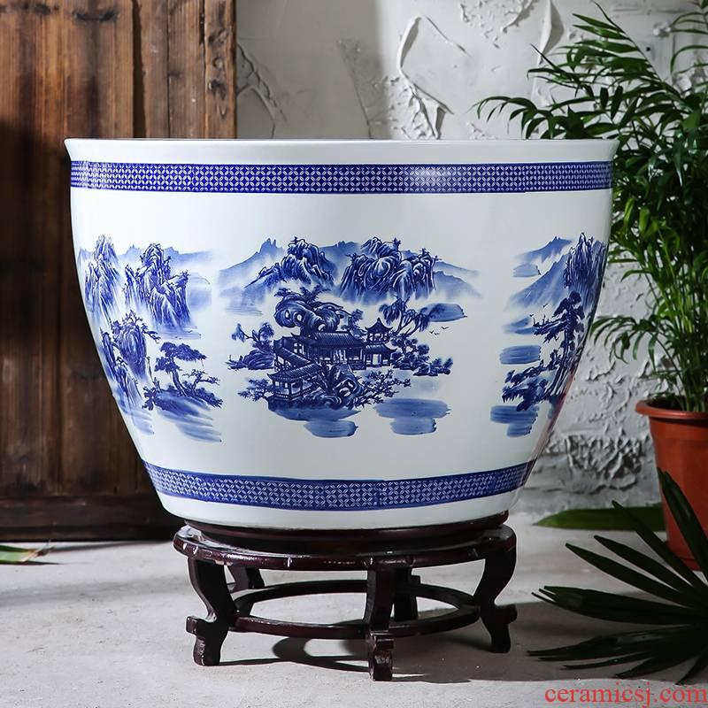Jingdezhen ceramic aquarium goldfish turtle cylinder water lily basin to heavy large fish bowl lotus porcelain jar