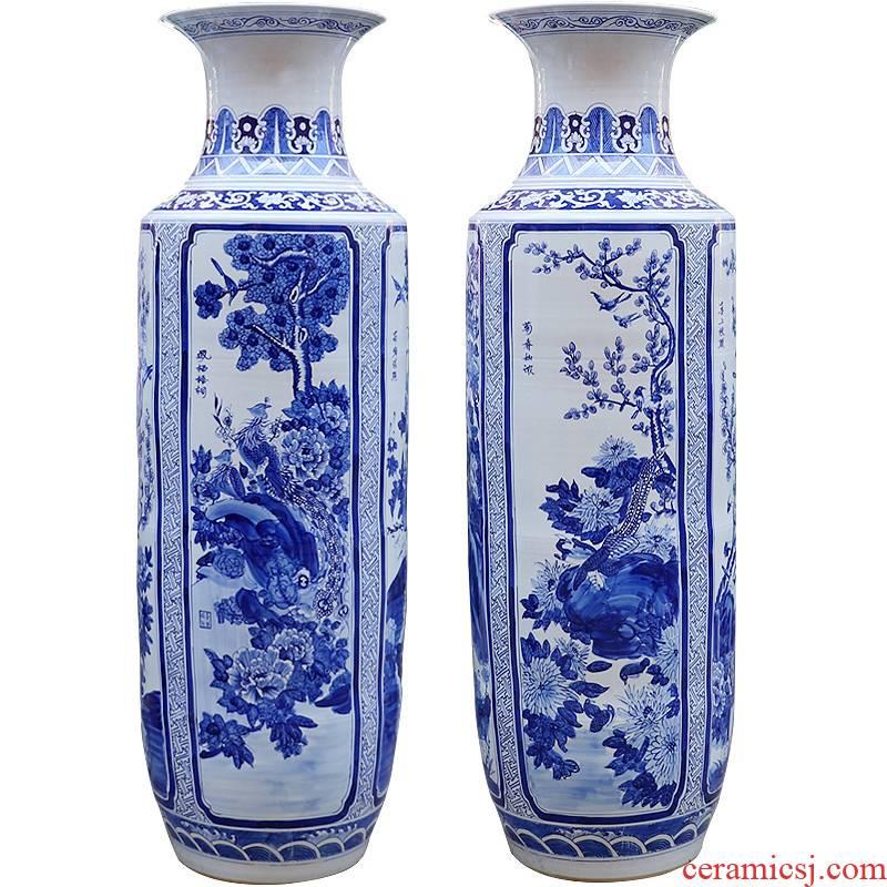 480 jingdezhen blue and white flowers and birds ceramic hand - made porcelain vase of large sitting room place vase housewarming gift