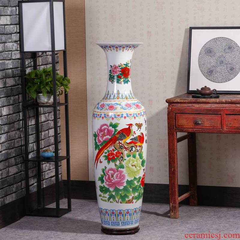 Jingdezhen ceramics blooming flowers hotel lobby hall for the opening of large vase decoration as furnishing articles
