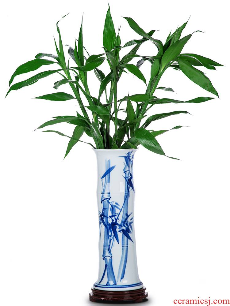 Lucky bamboo jingdezhen ceramics is increasing in aqua blue and white porcelain vase flower arranging new Chinese style living room place king fall to the ground