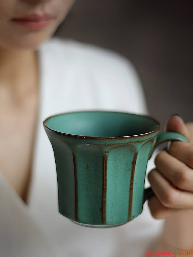 About Nine manual coarse ceramic coffee cup hand soil retro mugs web celebrity vertical stripes move variable Japanese household cup