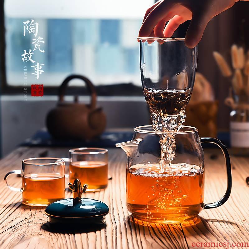 Ceramic story glass teapot high - temperature thickening household filter teapot Ceramic flower pot set