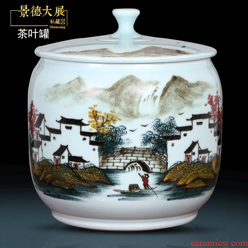 Retro hand - made scenery caddy fixings ceramic storage tank puer tea cake wake POTS sealed tank large household tea urn