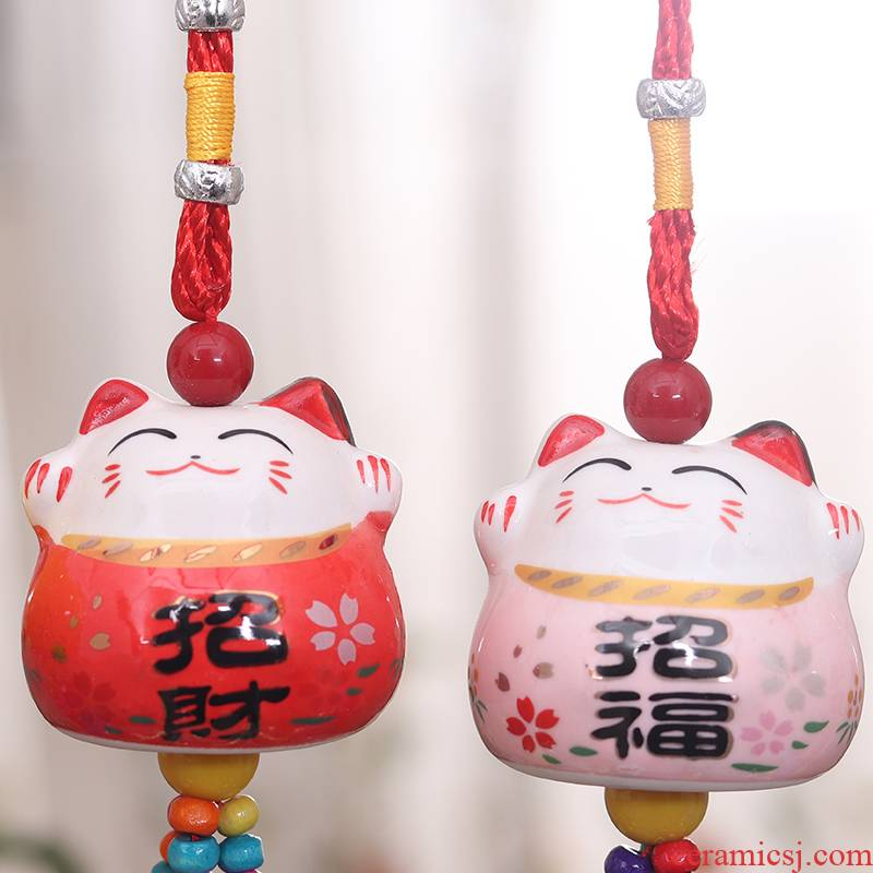 Ceramic plutus cat wind chimes hang act the role of embellish the car feel remind store opens bell, feel the car rear view