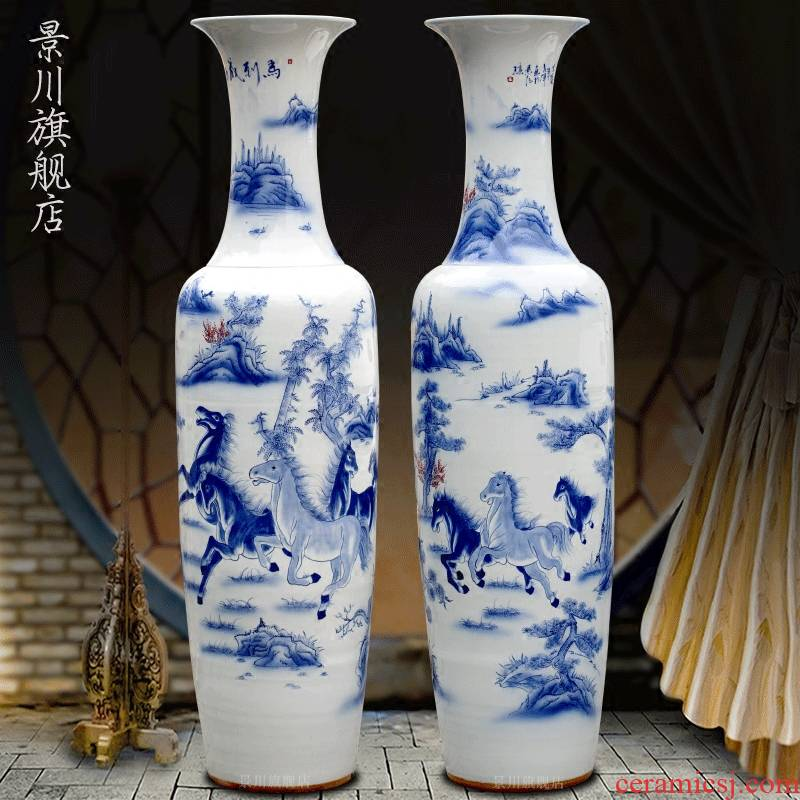 Jingdezhen blue and white porcelain hand - made success sitting room of large vase household porcelain vase of porcelain of modern furnishing articles