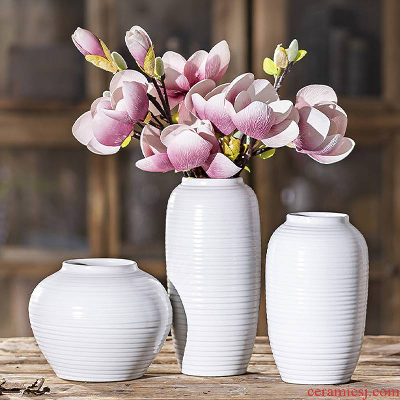 Dried flower vases, ceramic porcelain restoring ancient ways is the sitting room the Nordic table flower arranging water raise flower POTS American creative jewelry