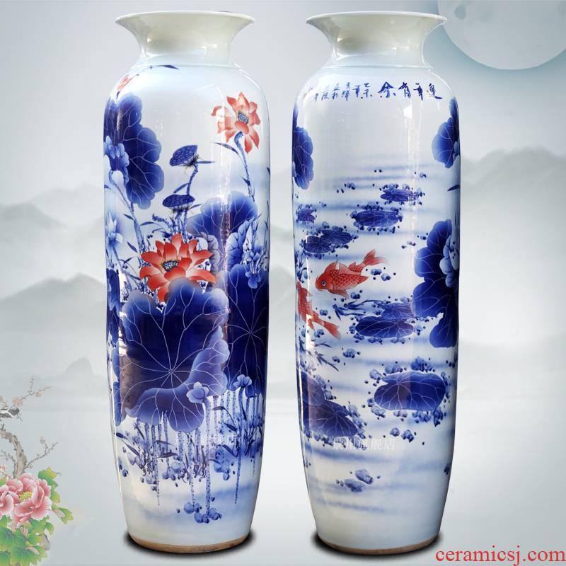 Hand made lotus fish landing big vase quiver of jingdezhen ceramics for wining years home sitting room hotel furnishing articles