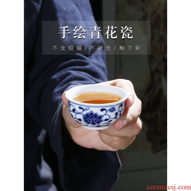 The Poly real view jingdezhen hand - made sample tea cup single cup small single blue and white porcelain ceramic household kung fu tea cups