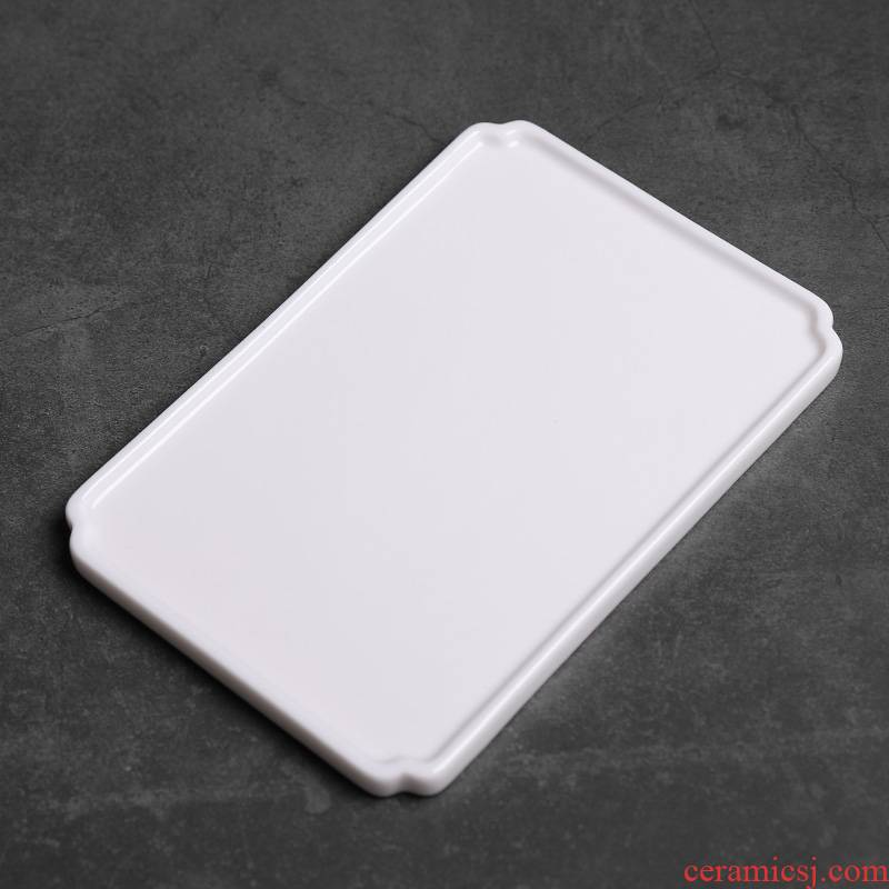 Dehua white porcelain dry mercifully machine ceramic tea tray tray was home sitting room small rectangle contracted zen pure Chinese style