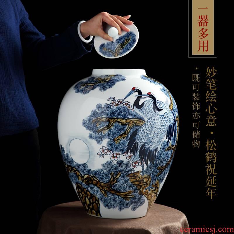 Jingdezhen vase hand - made under glaze colorful pine crane live bottle