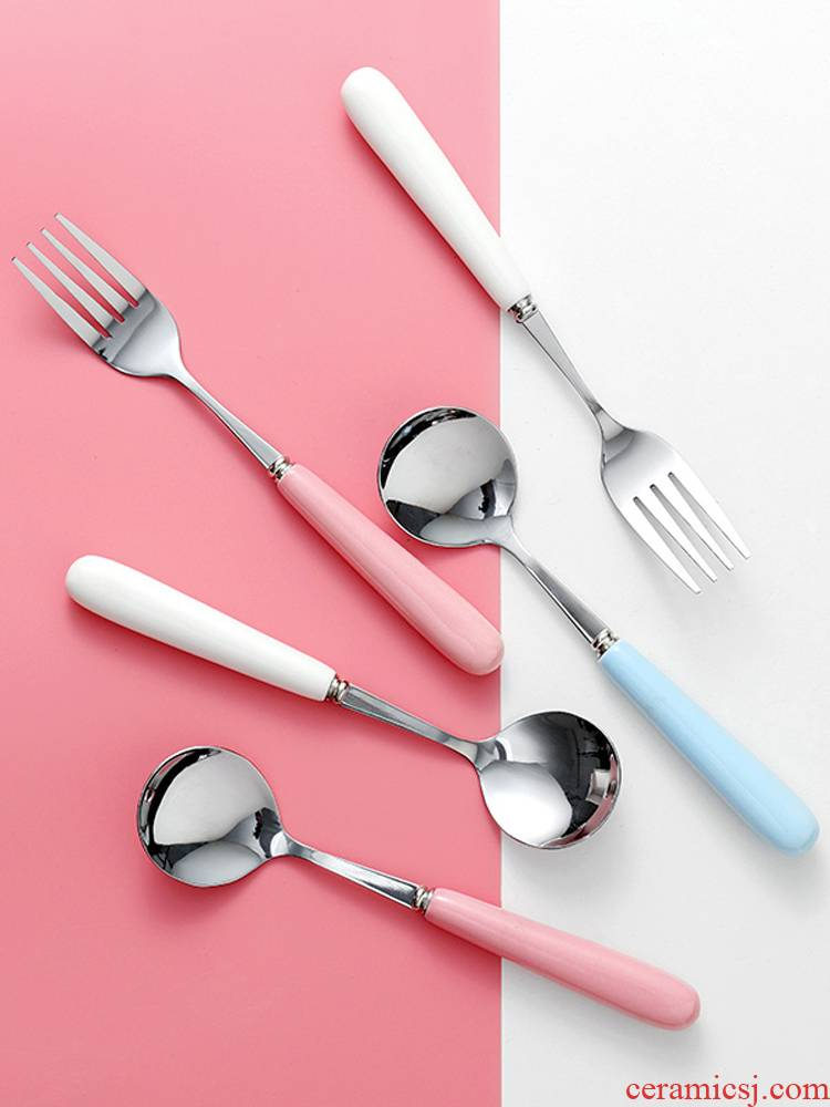 Lovely long handle ceramic spoon handle stainless steel household creative spoon coffee spoon web celebrity Korean small spoon for dinner