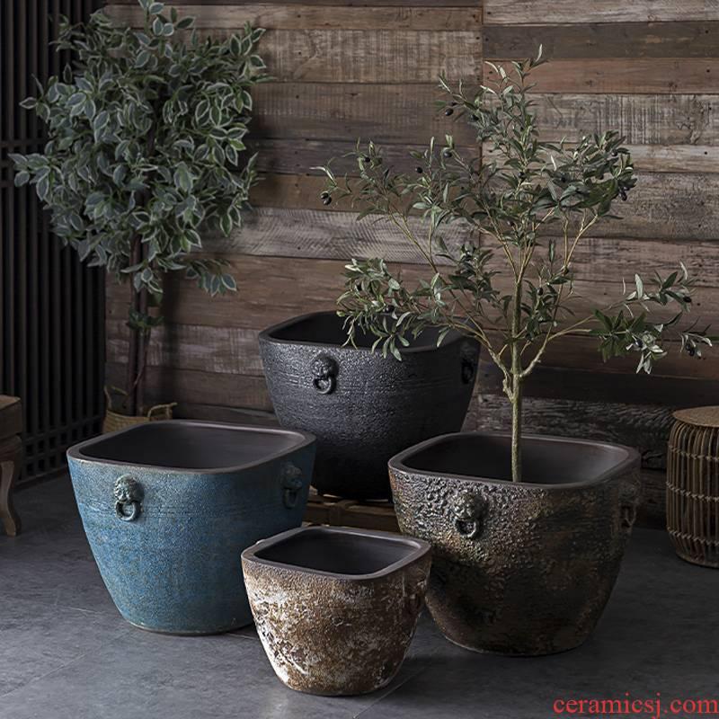 Restore ancient ways of archaize ceramic VAT coarse pottery hand round the altar tank big flowerpot tank floor furnishing articles courtyard garden
