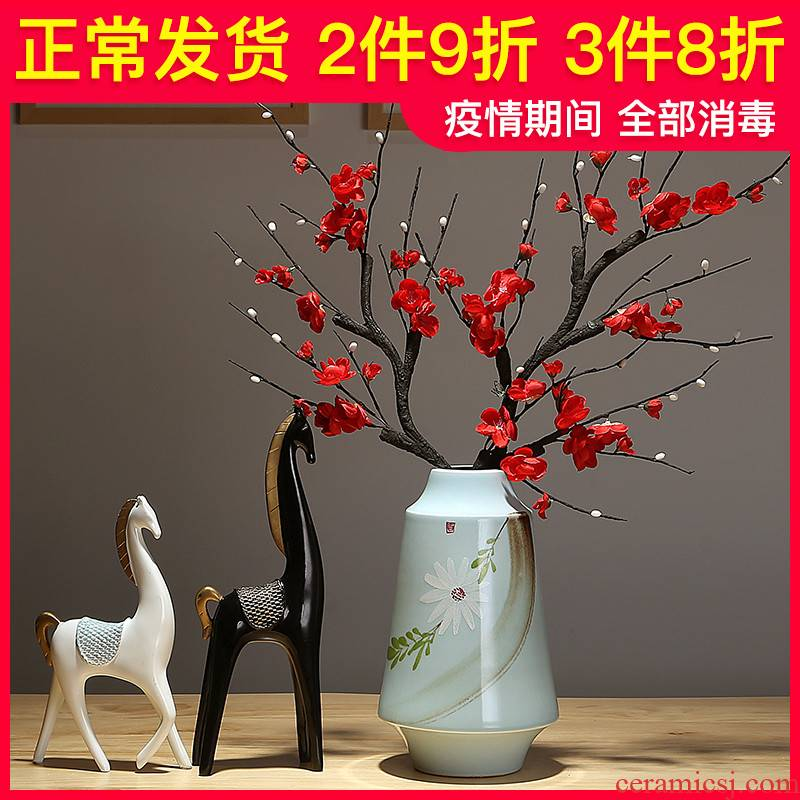 Jingdezhen ceramic flower implement modern new Chinese style household mesa of dried flowers sitting room porch decorate table flower arranging furnishing articles