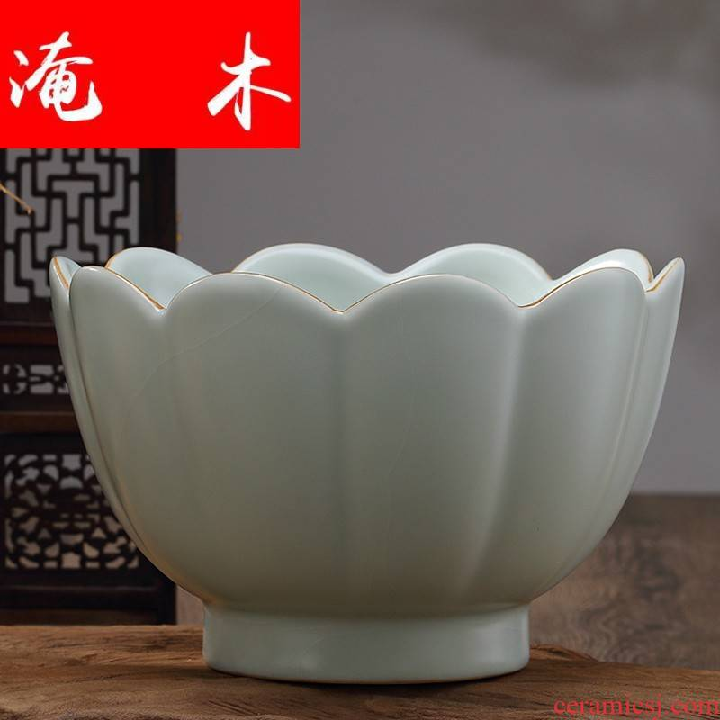 Flooded your up temperature bowl lotus wood large tureen cup wash to kung fu tea accessories ceramic tea to wash