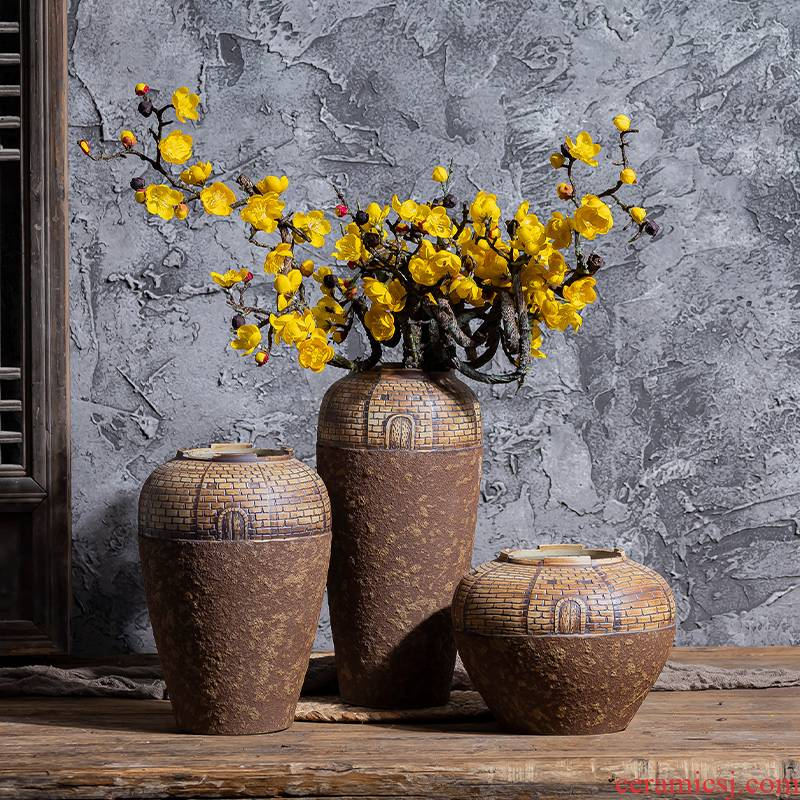 Literary retro manual coarse TaoHua ware POTS dry flower ceramic vases, flower arrangement sitting room Japanese teahouse zen flowerpot
