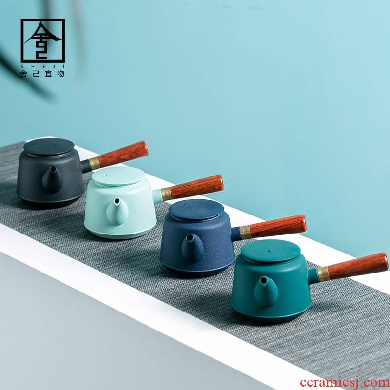 """The Self - """"appropriate content side ceramic contracted and I Japanese teapot teapot suit household kung fu tea pot"""