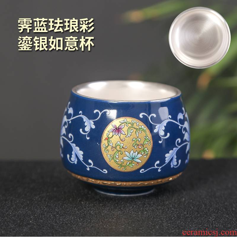 Sterling silver tea set 999 silver cup silver cup bladder pick flowers sample tea cup ceramic tasted silver gilding craft kung fu masters cup
