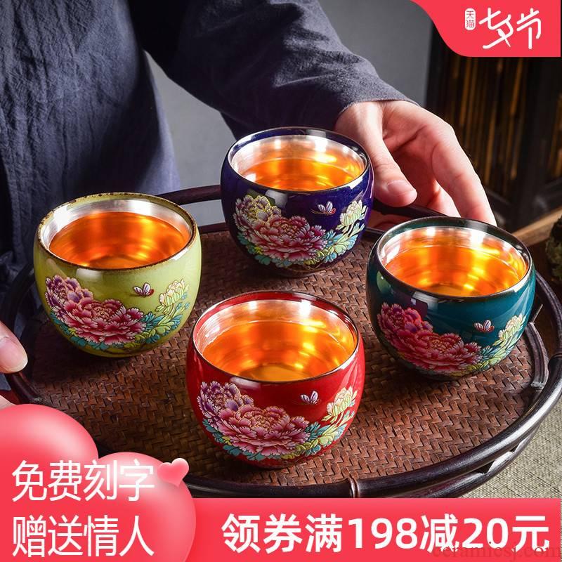 Jingdezhen master kung fu tea set tea cup 999 sterling silver, silver cup single cup tea sample tea cup