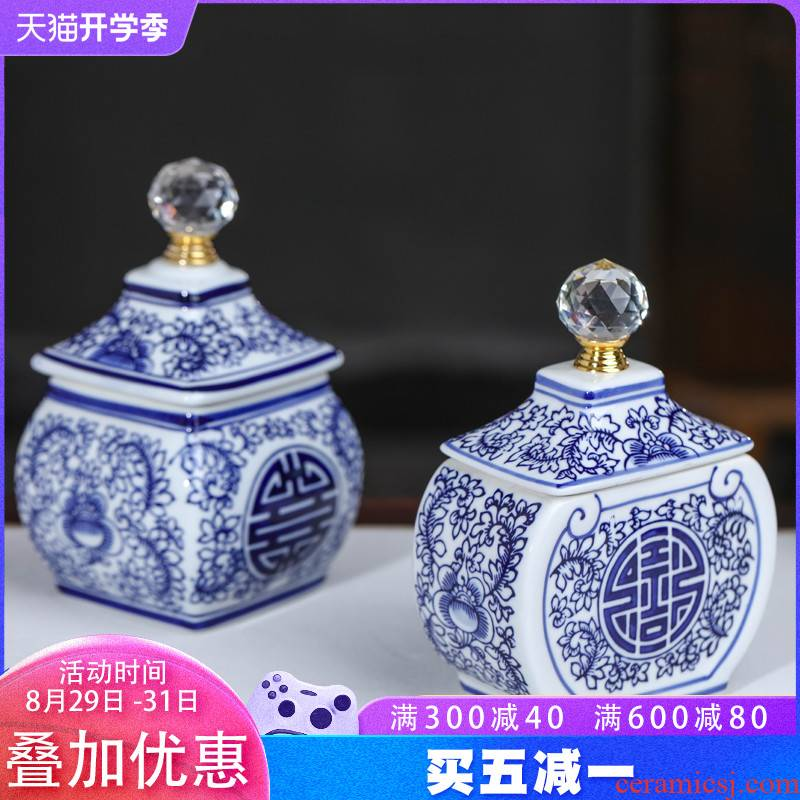 Jingdezhen blue and white porcelain happy character sitting room of the new Chinese style household ceramic tea pot storage tank receives decorative furnishing articles