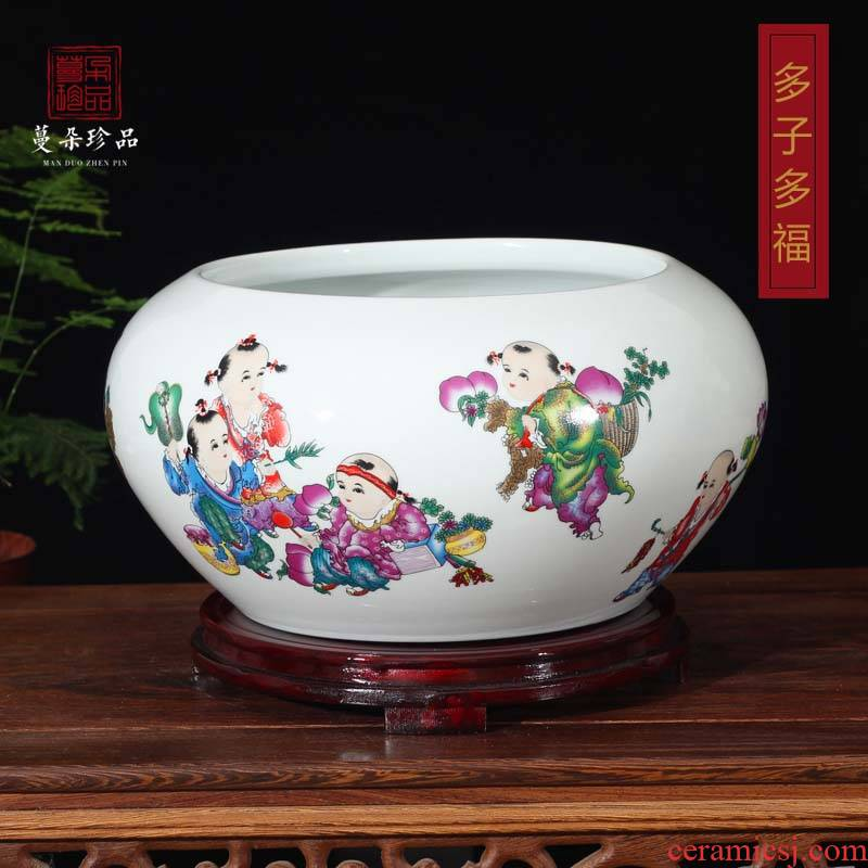 Jingdezhen lad tong qu writing brush washer drum Portland fashion beautiful porcelain ceramic porcelain tortoise goldfish bowl