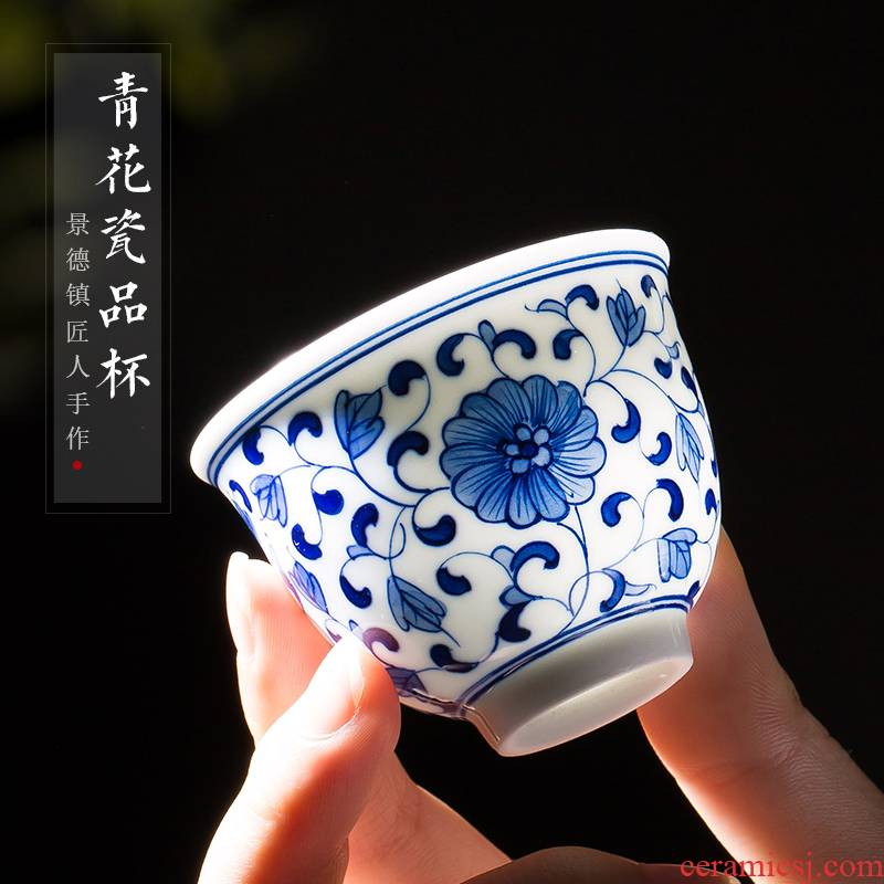 . Poly real scene hand blue and white porcelain of jingdezhen ceramic cups kung fu small single CPU master cup tea tea cups