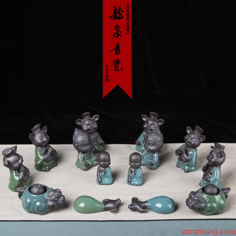 Longquan celadon creative tea pet kung fu tea tea set small place tea tea tea play accessories can raise