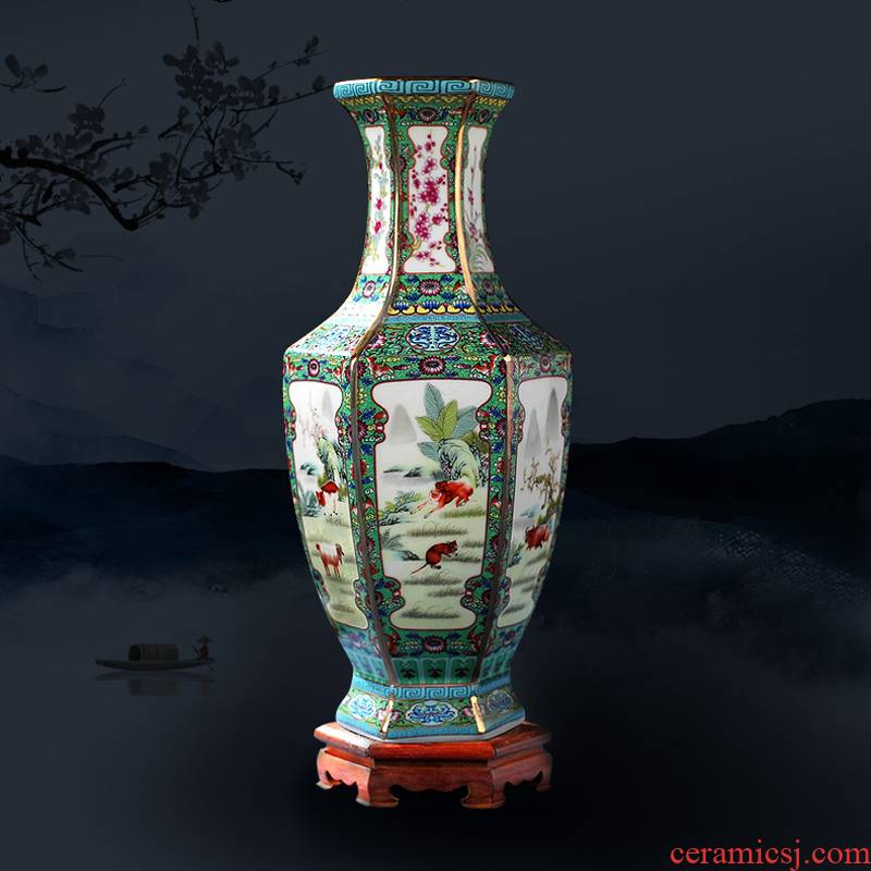 Jingdezhen ceramics vase furnishing articles of Chinese flower arranging office sitting room wine rich ancient frame TV ark, adornment