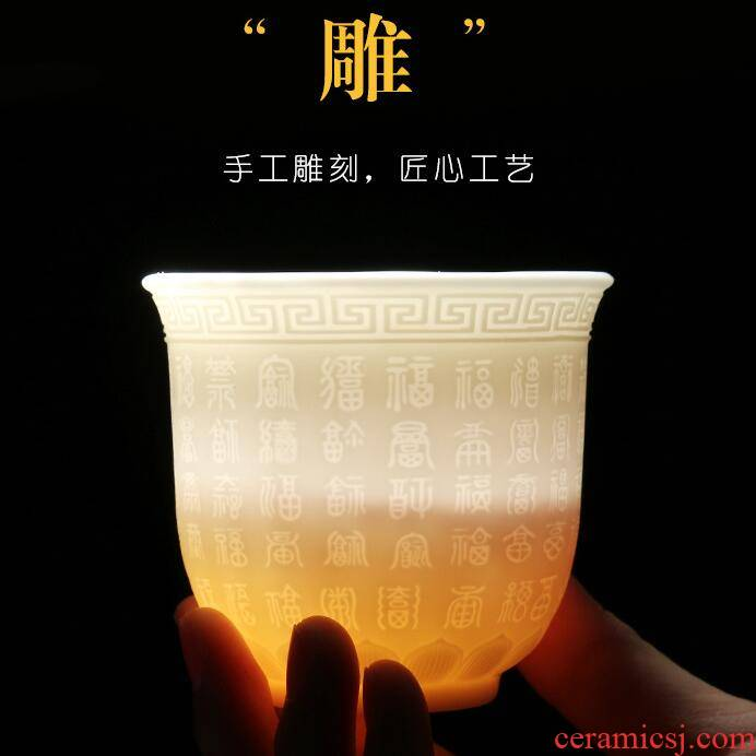 Dehua suet white jade high hand of jade porcelain large personal heart sutra buford make tea cups inside carving \ float glass