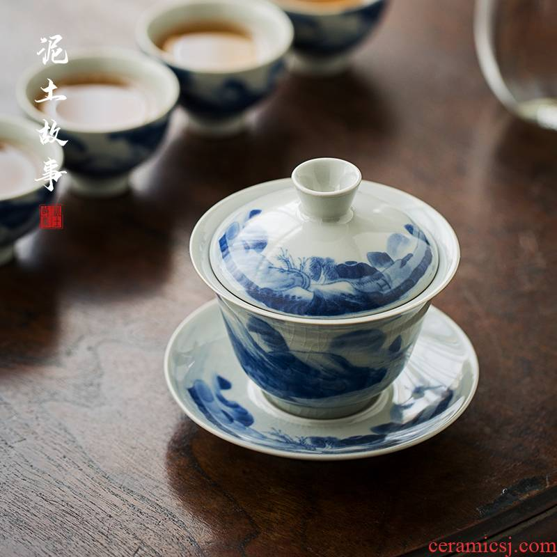 Archaize kangxi landscape tureen jingdezhen ceramic cups large bowl manual hand - made three blue and white porcelain cup