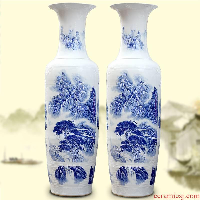 Hand - made bold carving painting landscape of large vases, jingdezhen ceramics hotels sitting room large furnishing articles